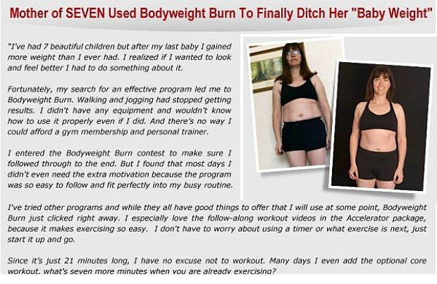 Bodyweight burn program Testimonials by people