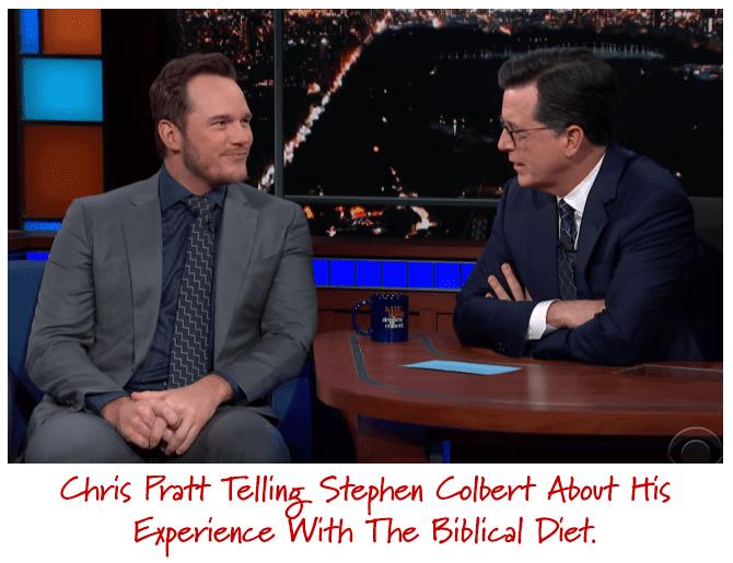 Christ Pratt with Stephen Colbert