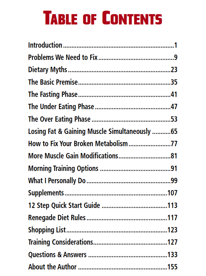 Renegade Diet PDF Table Of Content
